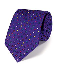 Purple silk luxury multi spot floral tie