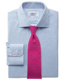 Extra slim fit semi-cutaway collar melange puppytooth sky blue shirt