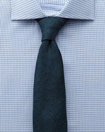 Extra slim fit semi-spread collar melange puppytooth sky blue shirt