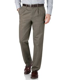 Olive green classic fit flat front non-iron chinos