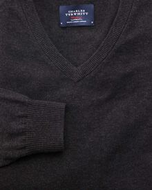 Charcoal cotton cashmere v-neck jumper