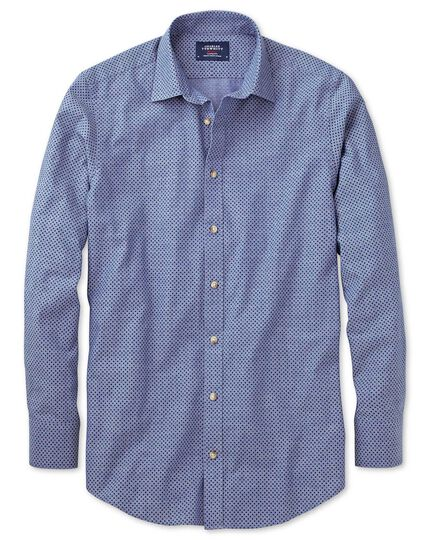 Classic Fit Blue And Purple Spot Print Shirt Charles