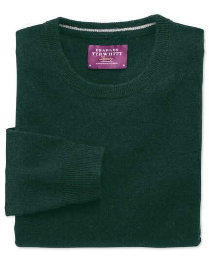 Green cashmere crew neck sweater