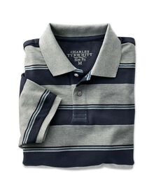 Slim fit navy and grey striped pique polo shirt