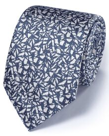 Mid blue silk classic abstract texture tie