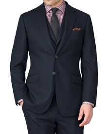 Indigo slim fit saxony business suit jacket