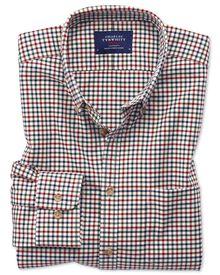 Bügelfreies Extra Slim Fit Twill-Hemd mit Bunten Gingham-Karos