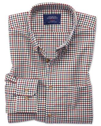 Slim fit button-down non-iron twill multi gingham shirt