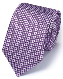 Purple silk classic diamond lattice tie