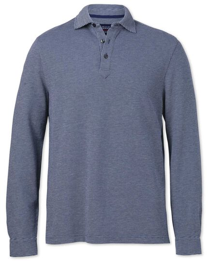 Blue and white birdseye long sleeve polo