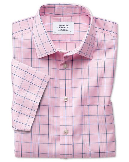 Slim fit non-iron Prince of Wales short sleeve pink shirt