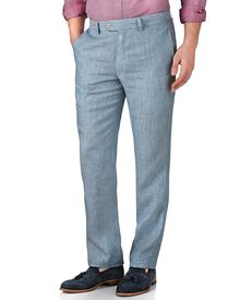 Light blue slim fit linen pants