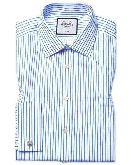 Bügelfreies Slim Fit Twill-Hemd in Weiß und Himmelblau mit Streifen
