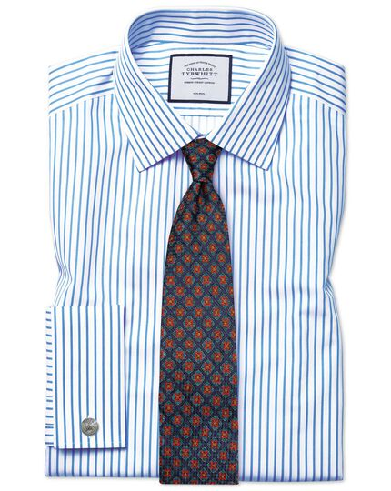 Slim fit non-iron twill white and sky blue stripe shirt