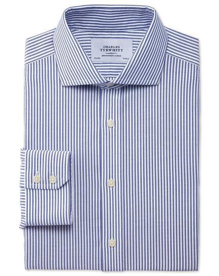 Slim fit spread collar non-iron royal Oxford stripe navy shirt