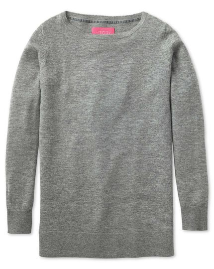 Light grey merino cashmere long line jumper