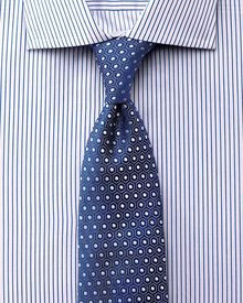 Slim fit semi-cutaway collar luxury poplin blue shirt
