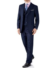 Navy classic fit British Panama luxury suit