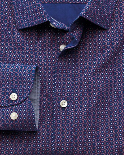 Extra slim fit blue and pink pentagon print shirt