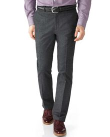 Grey slim fit cotton flannel trouser