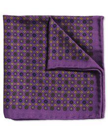 Pochette de costume classique violette et or en laine avec imprimé pois