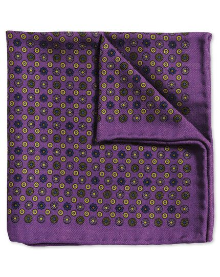 Purple and gold classic printed wool spot pocket square