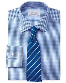 Slim fit non-iron grid check navy shirt