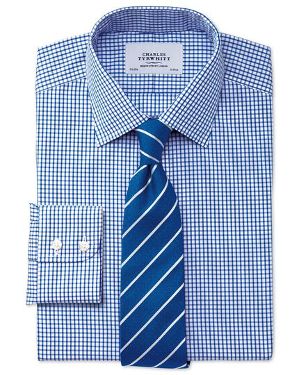 Extra slim fit non-iron grid check navy shirt
