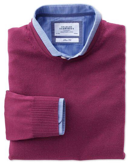 Berry merino crew neck sweater