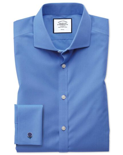 Extra slim fit spread collar non-iron poplin blue shirt
