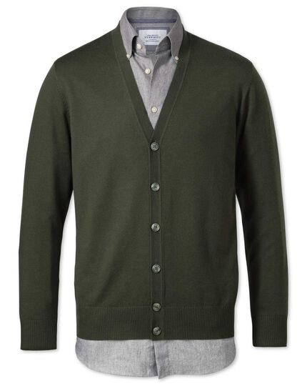 Dark green merino wool cardigan