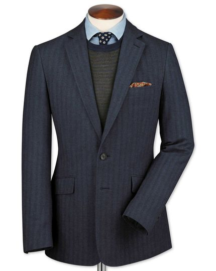 Slim fit airforce blue herringbone cotton flannel jacket