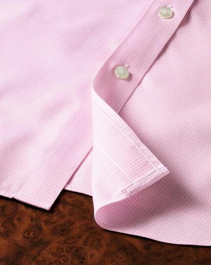 Extra slim fit non iron puppytooth light pink shirt