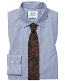 Slim fit non-iron bengal stripe navy shirt