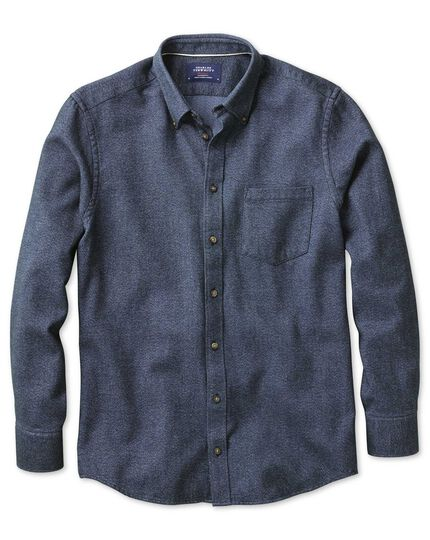 Classic fit dark blue Donegal shirt