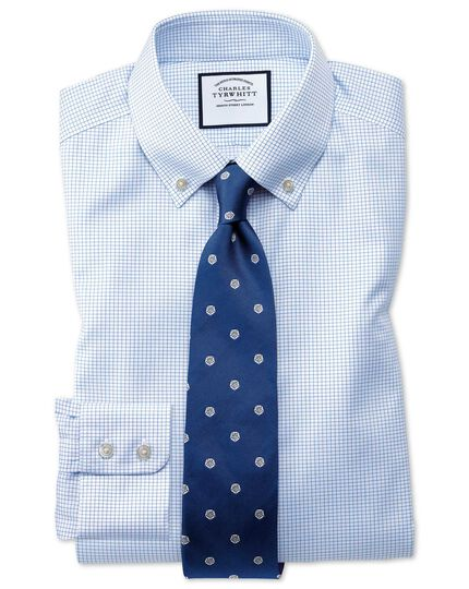 Classic fit button down non-iron twill grid check sky blue shirt
