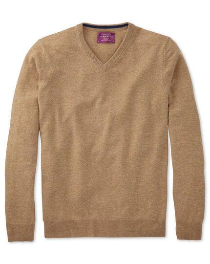 Tan cashmere v-neck jumper