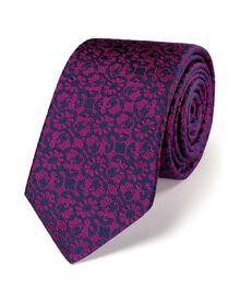 Pink luxury floral slim tie
