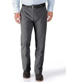 Grey slim fit Prince of Wales check stretch pants