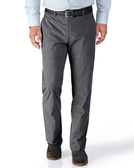 Grey slim fit Prince of Wales check stretch trousers
