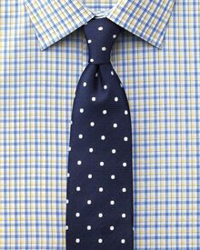 Slim fit Egyptian cotton Jermyn St check blue and yellow shirt
