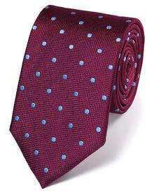 Berry and sky silk spot classic tie