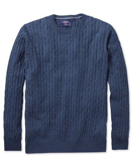 Indigo cotton cashmere cable crew neck jumper