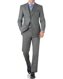 Silver classic fit British Panama luxury suit