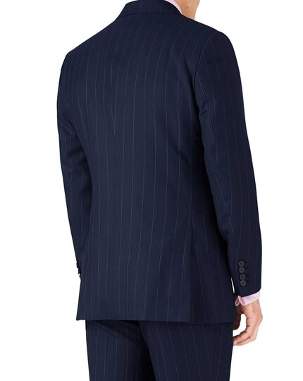 Navy stripe slim fit British serge luxury suit jacket