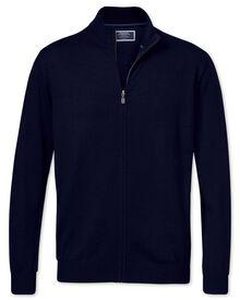 Navy merino wool zip through cardigan