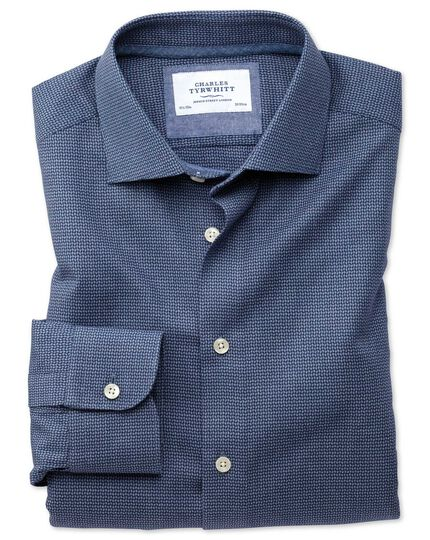 Slim fit semi-cutaway business casual navy patterned shirt
