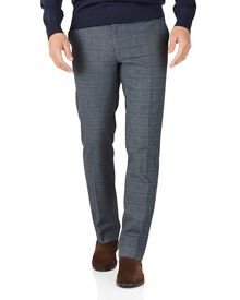 Blue slim fit cotton flannel check trousers