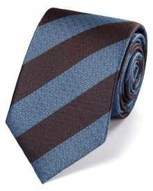 Sky and brown silk block stripe classic tie