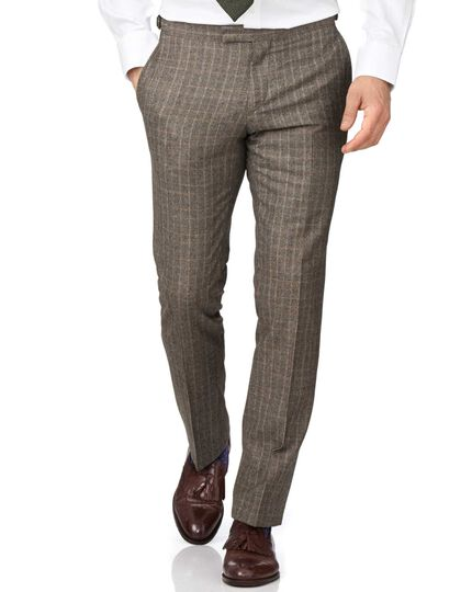 Tan slim fit British check flannel luxury suit trousers